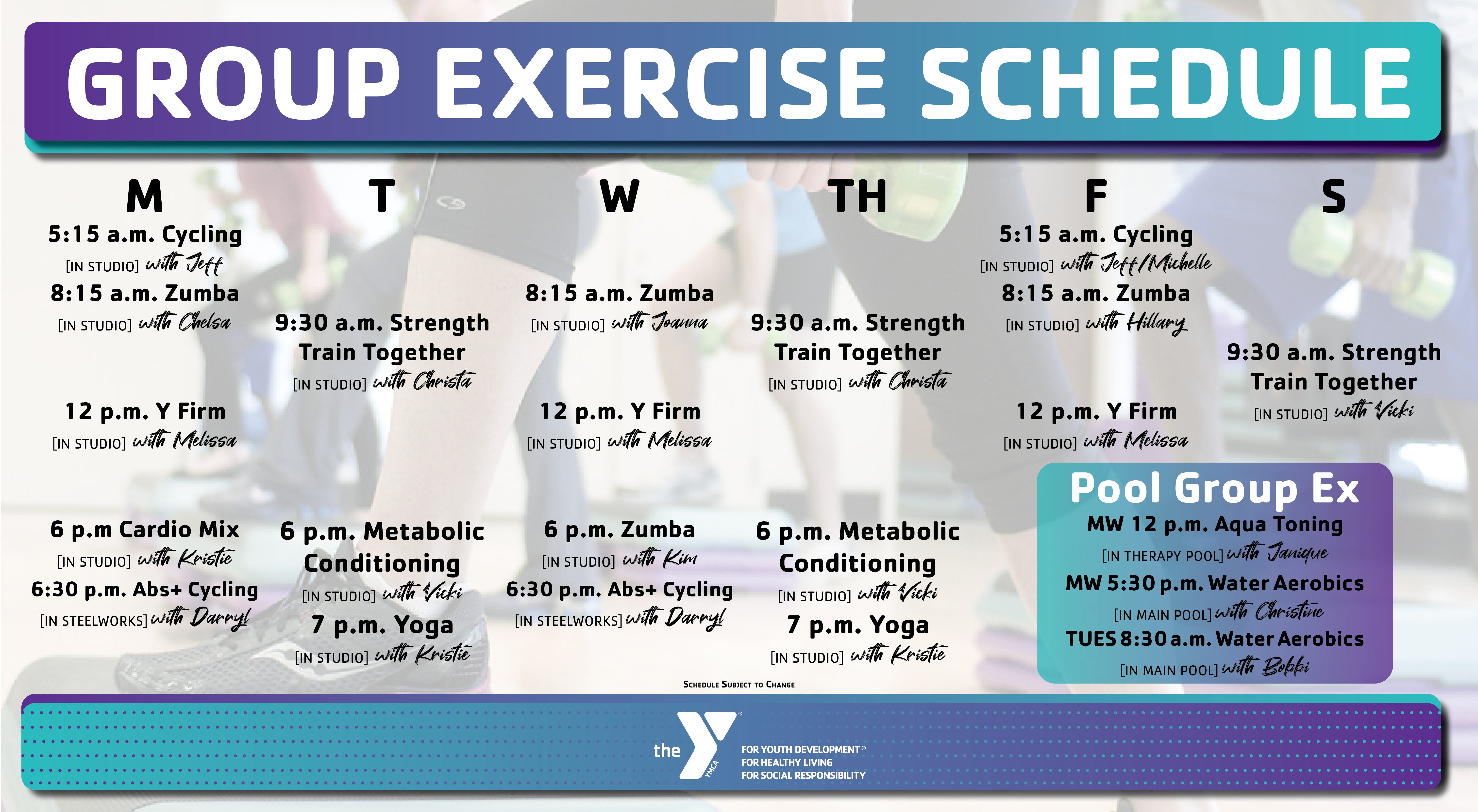 Group Exercise schedule 10.1.20